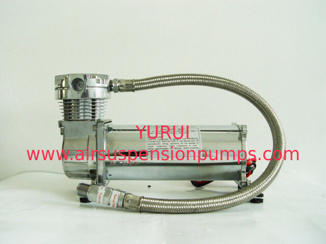 Silver And Black Single 200psi Air Suspension Compressor Chrome Material