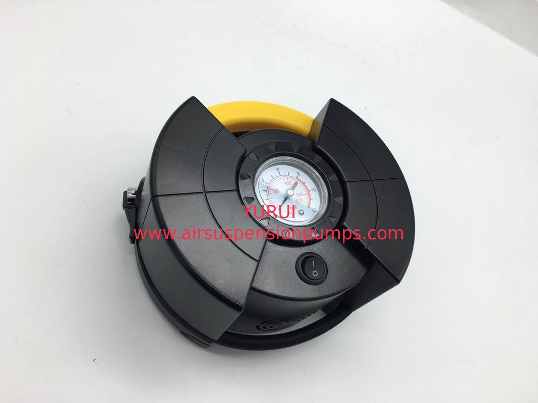 DC12V Car Air Inflator Compressor With Gauge For Different Tires , Black And Yellow Color